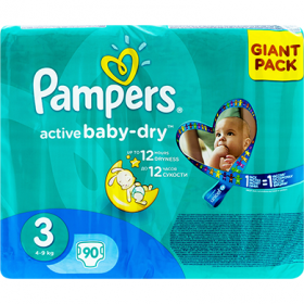 Pampers Active Baby-dry 3 (4-9 kg) scutece pentru copii – 90 buc