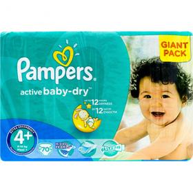 Pampers Active Baby-dry 4+ (9-16 kg) scutece pentru copii – 70 buc
