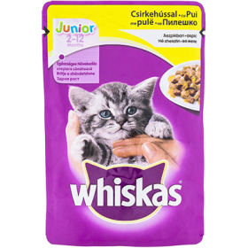 Whiskas Junior hrană umedă cu pui în aspic pentru pisici 2-12 luni – 100 gr.