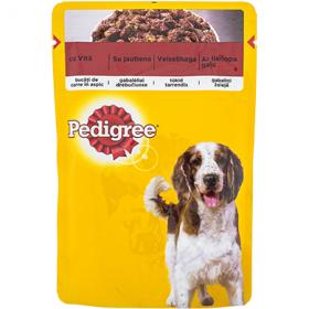 Pedigree hrană umedă cu vită în sos, pentru câini adulți - 100 gr.