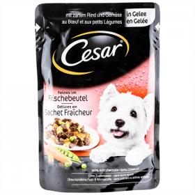 Cesar hrana pentru caini cu vita si legume in sos, plic - 100 g
