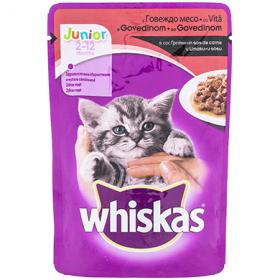 Whiskas Junior hrană umedă cu vita în sos de carne pentru pisici 2-12 luni – 100 gr.
