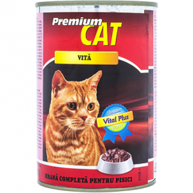 Premium Cat conserva pentru pisici adulti cu vita – 415 gr