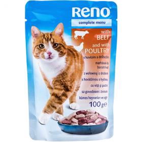 Reno hrană umedă cu vită și pasăre pentru pisici - 100 gr