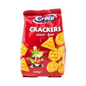 Biscuiți cu aromă de șuncă Croco Crackers - 100gr