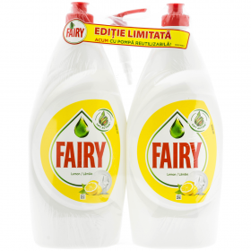 Fairy Lemon detergent pentru vase 2x800ml + pompa GRATIS