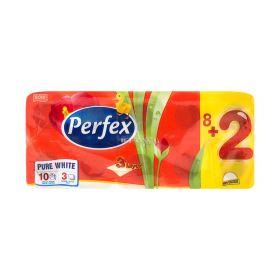 Hârtie igienică 3 straturi Perfex Pure White - 8+2role