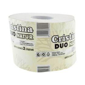 Hârtie igienică Cristina Duo Natur 2 straturi cu tub - 1rolă