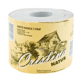 Hârtie igienică Cristina Natur 1 strat cu tub - 1rolă