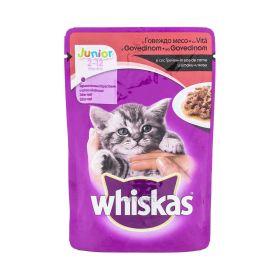 Hrană umedă cu vită pentru pisici Whiskas Junior (2-12 luni) - 100gr