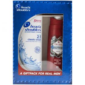 Set cadou pentru bărbați: șampon Head & Shoulders Classic 2in1 și gel de duș Old Spice Wolfthorn